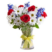 red-white-blue-roses-daisies-yellow-ribbon-clear-vase