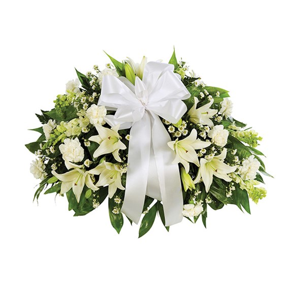 Half Casket Spray of flowers, all-white, for sale from Ingallina's Gifts